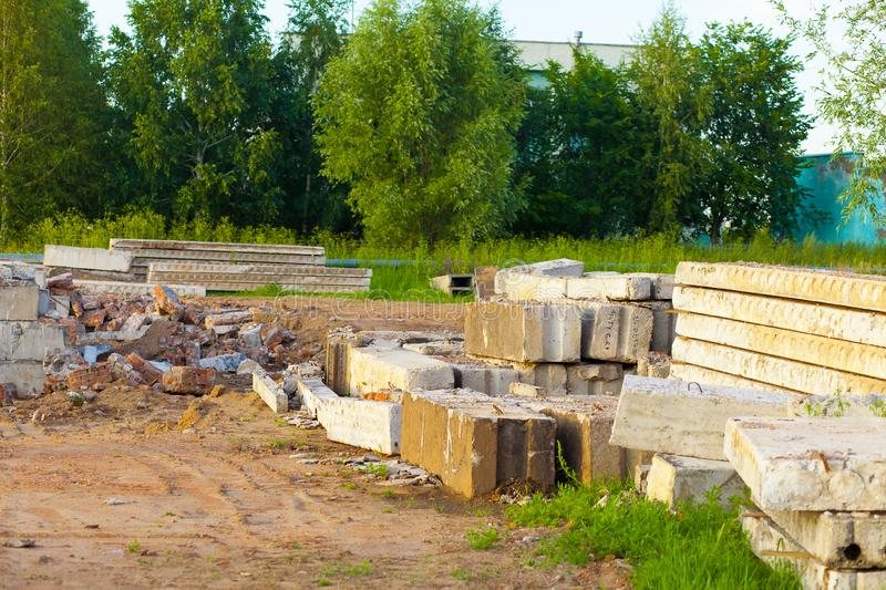 Dismantling of an old brick building. Construction debris and building materials. Disassembly stock photos
