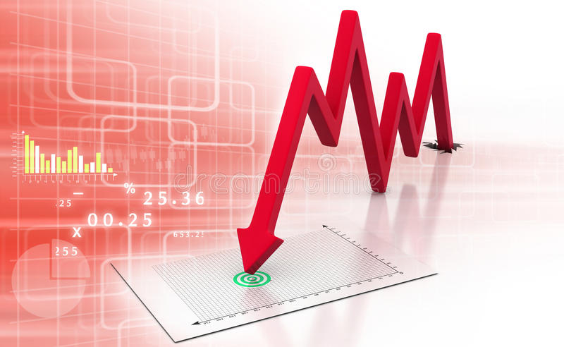 Disminución del negocio de demostración del gráfico de la flecha stock de ilustración