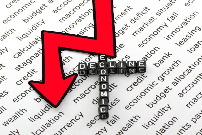 Disminución económica y los riesgos foto de archivo