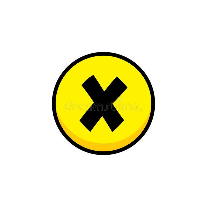 disminuya el arte cruzado de la capa del botón del icono del menú del activo del videojuego stock de ilustración