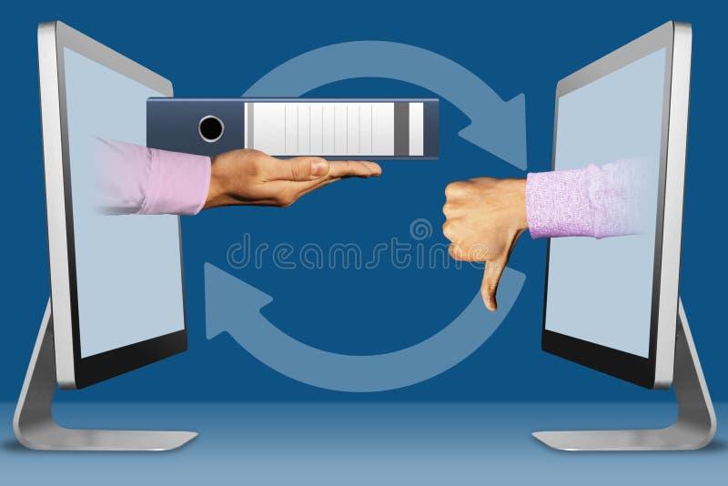 Disminuya el concepto de los informes de la contabilidad, dos manos de monitores carpeta y pulgares abajo, aversión ilustración 3 ilustración del vector