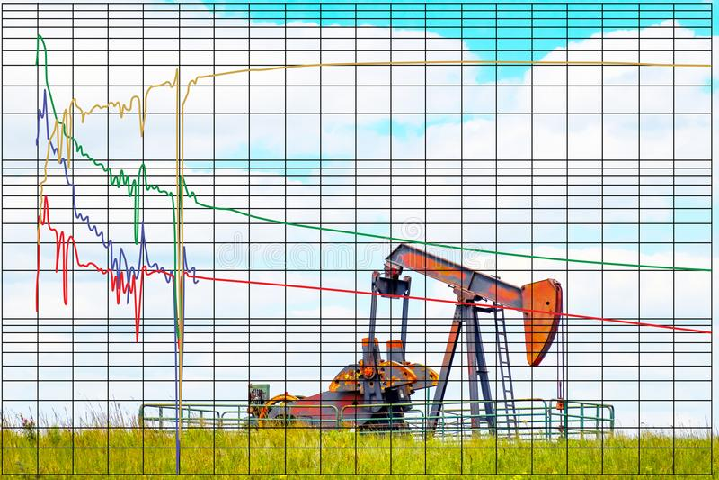 Disminuya la carta del análisis de la curva que predice la producción futura del pozo del aceite o de gas basada en última histor stock de ilustración