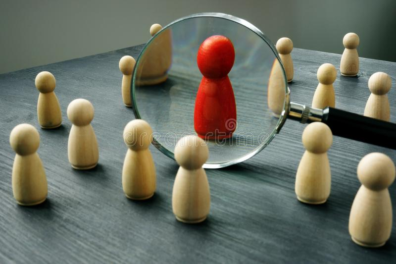 Dismissal and hiring people to work. Talent management. Dismissal and hiring people to work. Wooden figures on a table. Talent management stock images