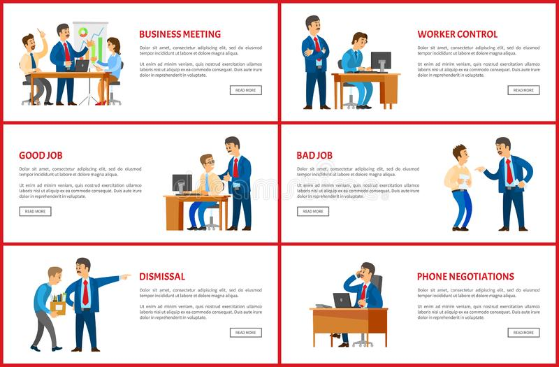 Dismissal and Task, Job Interview, Worker Control. Dismissal and task, job interview and worker control, clerk with manager, business vector web posters. Office vector illustration