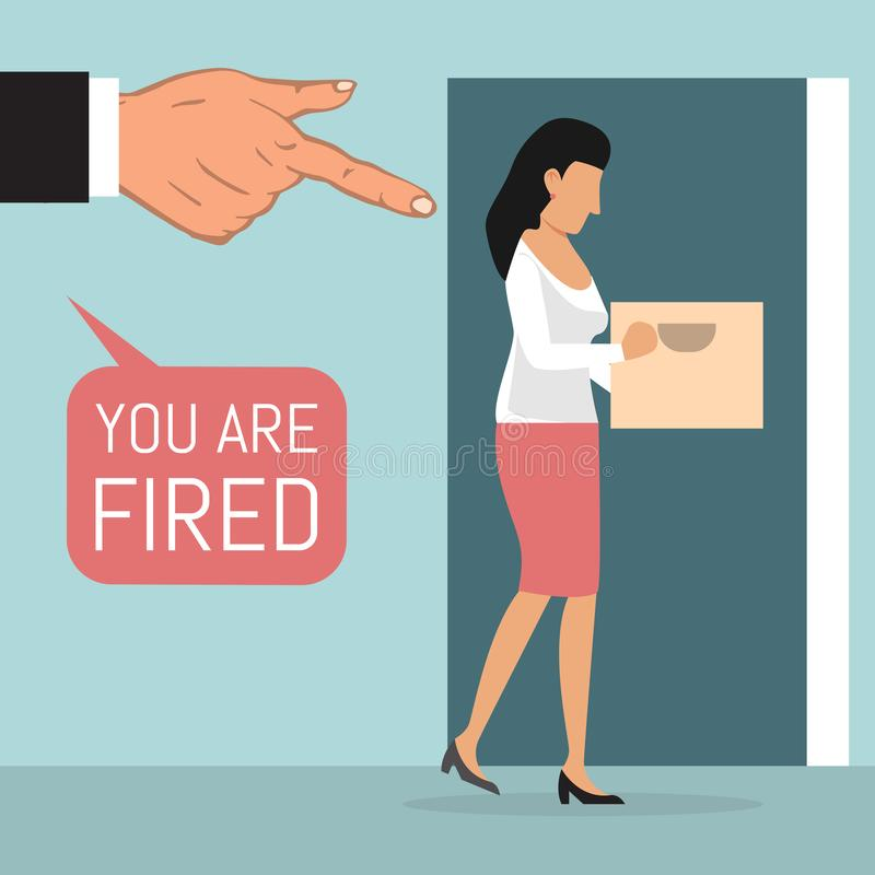 Dismissed employee, fired from job vector illustration. Big businessman hand points to woman with box who leave work. stock illustration