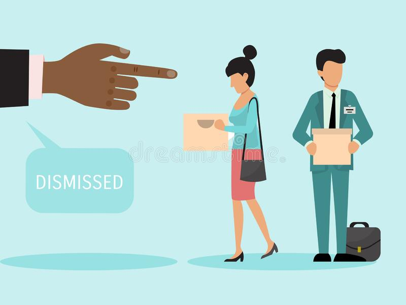 Dismissed employees with boxes vector illustration. Fired man and woman leave work. Dismiss frustrated business person royalty free illustration
