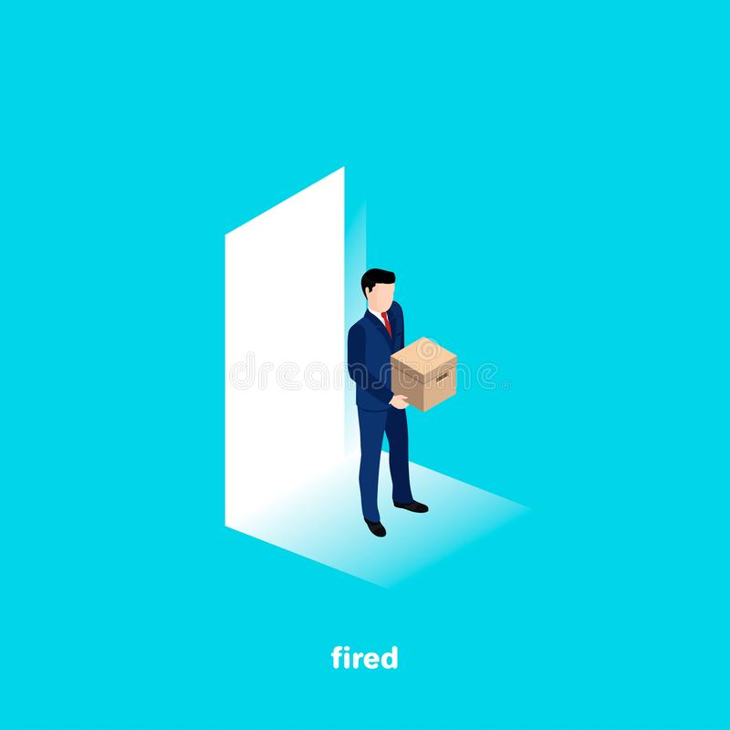 Dismissed from his job, man in a business suit with a box in his hands. Isometric image stock illustration