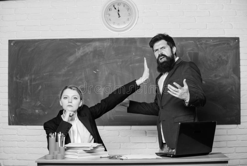 Dismissed objection. School teacher and parent. Stop talking to me. Criticism and objection concept. Teacher wants man stock photography