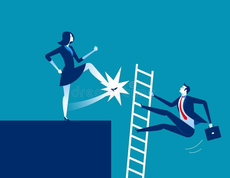 Dismission Λάκτισμα επιχειρηματιών μακριά Επιχειρησιακό διάνυσμα έννοιας άρρωστο απεικόνιση αποθεμάτων