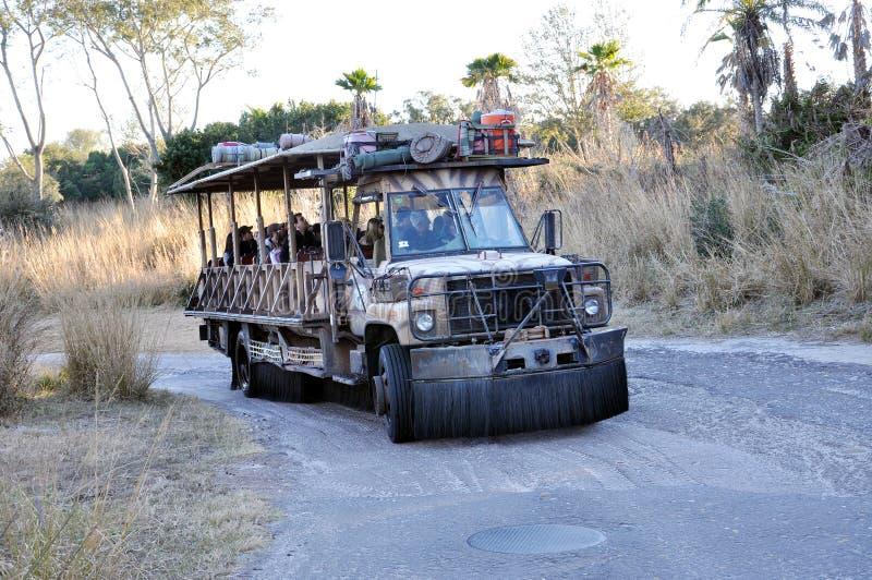 Disney Animal Kingdom Transportation. Kilimanjaro Safaris in Disney Animal Kingdom, Orlando, Florida, USA. An open-air safari vehicles takes you on an exciting royalty free stock images