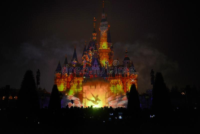 Disney Castle with light and fireworks show royalty free stock image