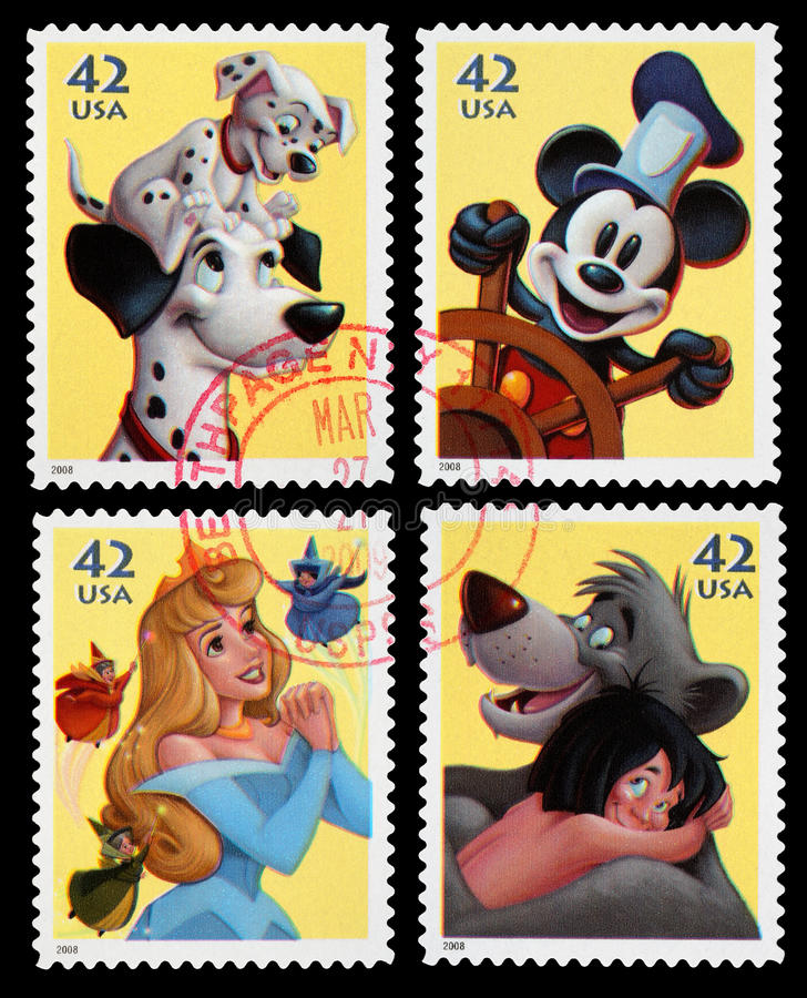 Disney Character Postage Stamps royalty free stock image