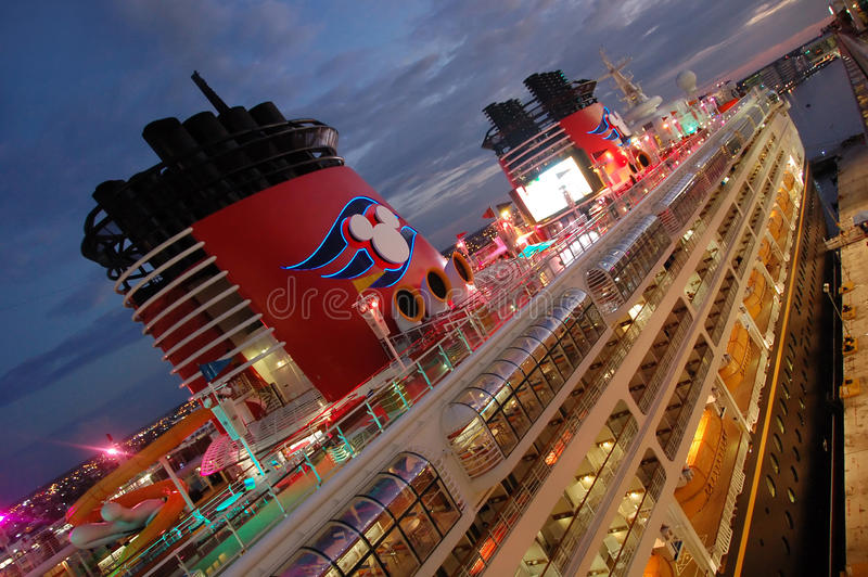 Disney cruise ship at night stock photo