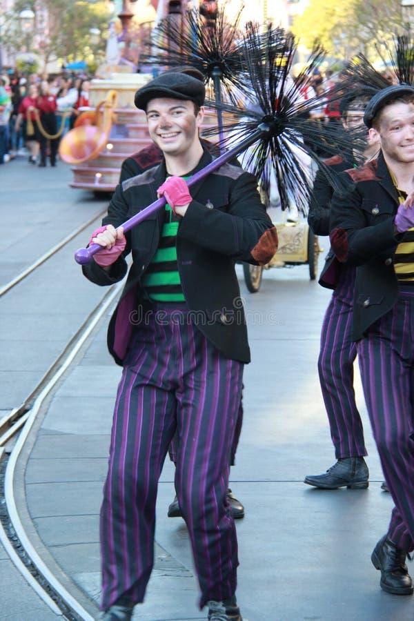 Disney desfila - varredura de chaminé fotografia de stock royalty free