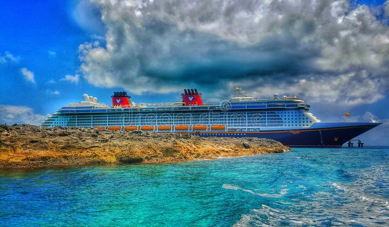 Disney Dream at Castaway Cay. Island in the Bahamas. Picture taken from the glass bottom boat excursion as we approached docking royalty free stock image