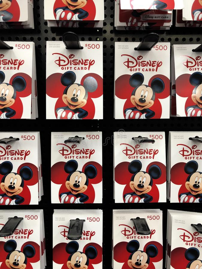Disney Gift Card. Gift Cards from Disney for sale at a Sam`s Club Warehouse in Arizona royalty free stock photos