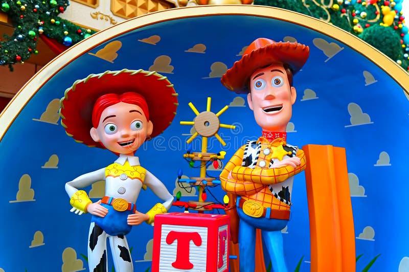 Disney gioca i caratteri di storia legnosi e il jessie immagine stock libera da diritti