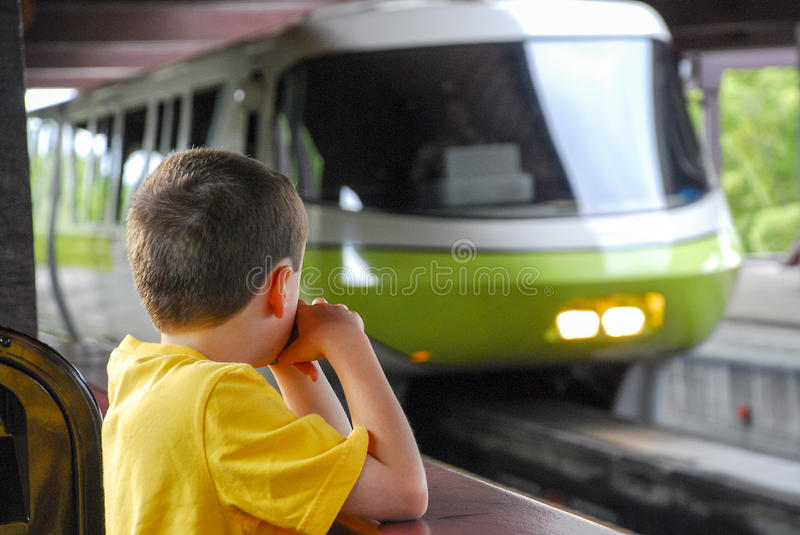 Disney Monorail Entering Station stock photography