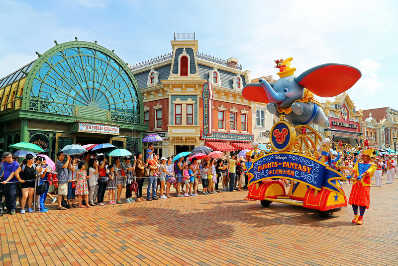 Disney-parade van disneyland, Hongkong stock foto's