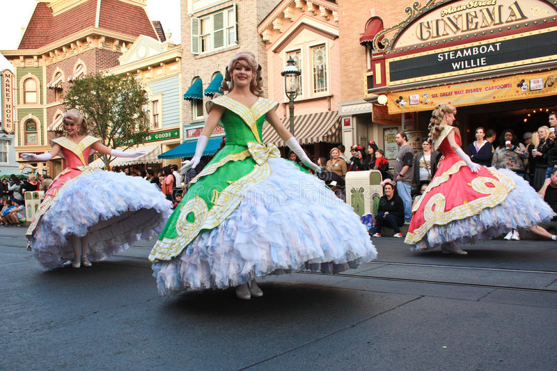 Disney princesses in parade. Parade at Disneyland, California, with princesses dressed in long, full dresses. Parade is on Main Street USA and is a daily event royalty free stock photos
