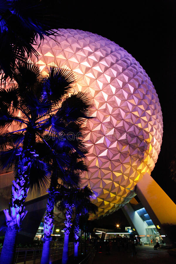 Disney`s famous Spaceship earth at night stock photography