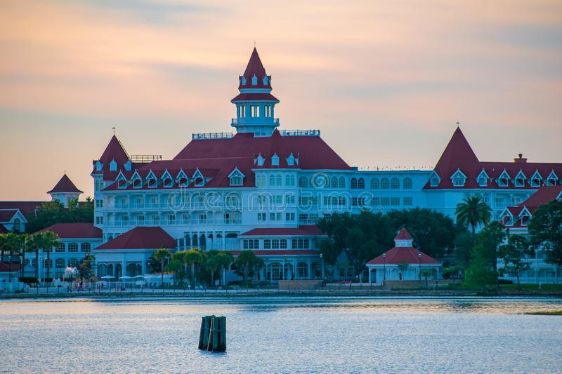 Disney`s Grand Floridian Resort & Spa on beautiful sunset background at Walt Disney World  area  3. Orlando, Florida. April 23, 2019. Disney`s Grand Floridian stock photo