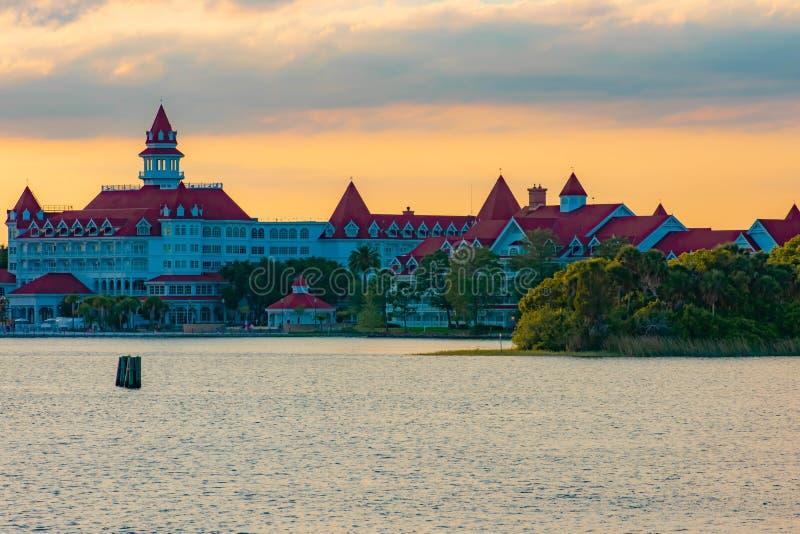 Disney`s Grand Floridian Resort & Spa on sunset background at Walt Disney World 1. Orlando, Florida. April 02, 2019. Disney`s Grand Floridian Resort & Spa on stock photo
