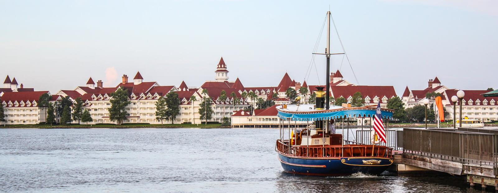 Disney's Grand Floridian Resort & Spa. View of Disney's Grand Floridian Resort & Spa across the water stock photo