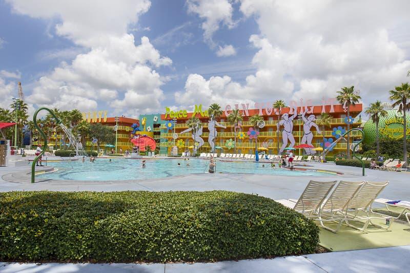 Disney-` s Knall-Jahrhundert-Erholungsort-Swimmingpool lizenzfreies stockbild