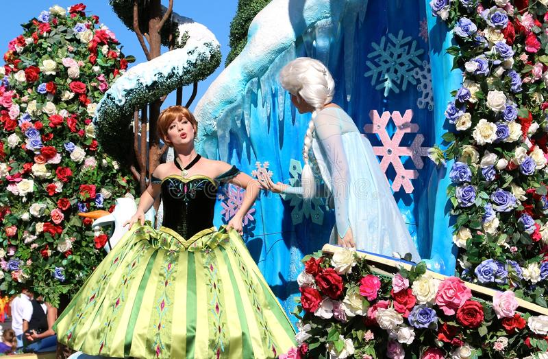 Disney's Princess Elsa from Frozen at Disneyworld. Frozen characters at Disney's Magic Kingdom stock photos