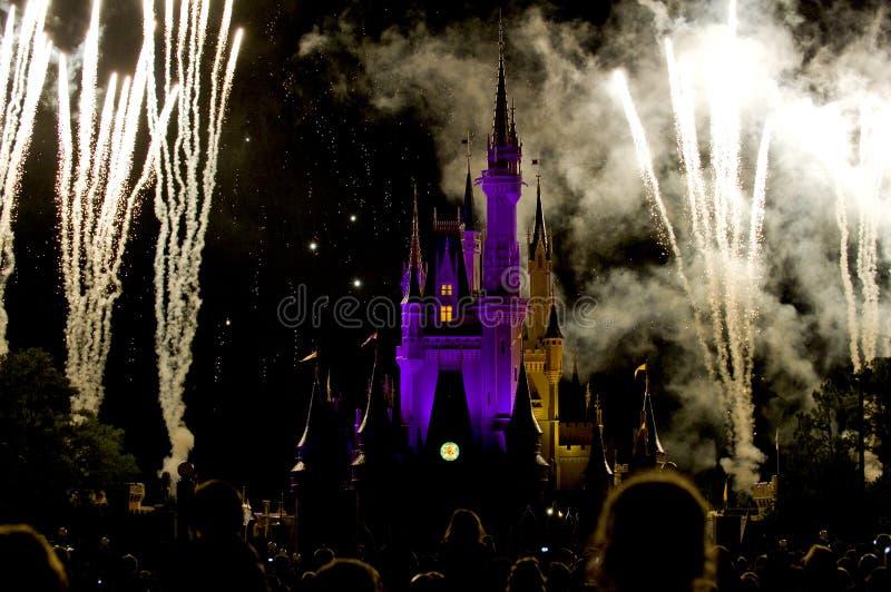 Disney-Schlossfeuerwerkmasse stockfotos