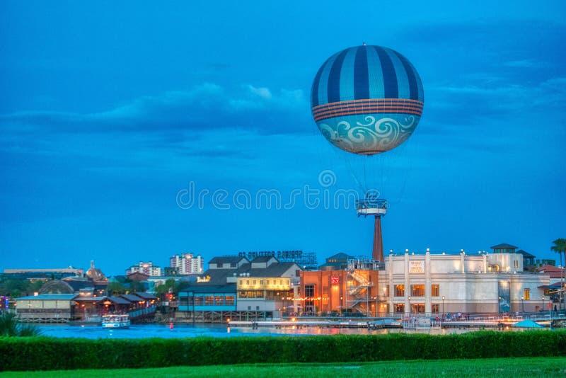 Disney Springs, Florida at Sunset with Hot Air Balloon. Disney Springs Resort, sunset skies royalty free stock photo