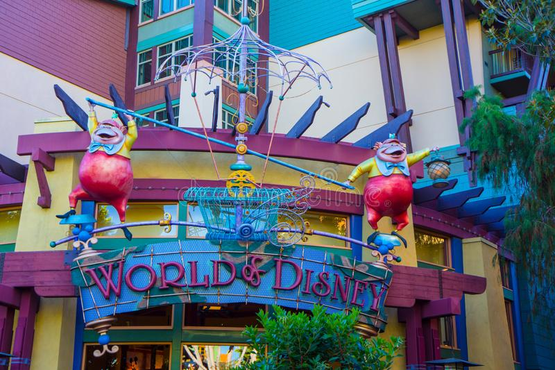 Disney Store Front for World of Disney. Characters from Alice in Wonderland adorn the colorful store front for a Walt Disney shop in Downtown Disney, Anaheim stock photos