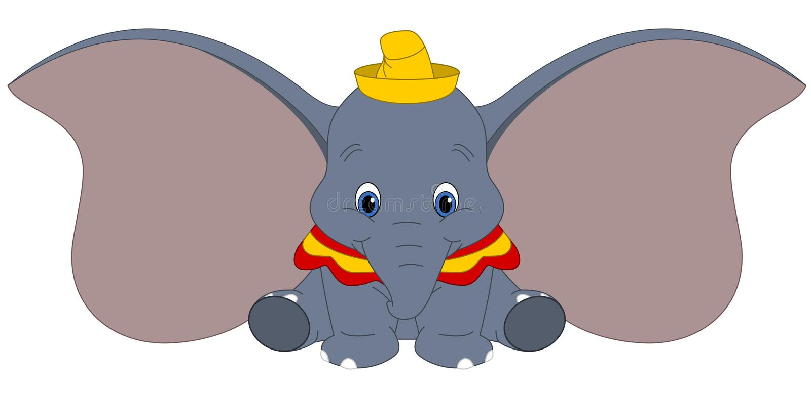 Disney vector illustration of Dumbo isolated on white background, baby elephant with big ears, fantasy cartoon character vector illustration