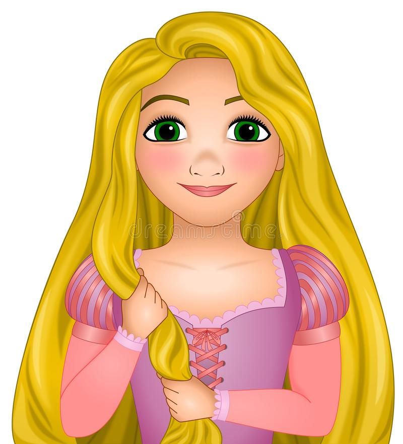 Free Disney Vector Illustration Of Rapunzel, Princess Disney With Very Long Magical Blonde Hair, Fairy Tale Royalty Free Stock Photos - 163506978