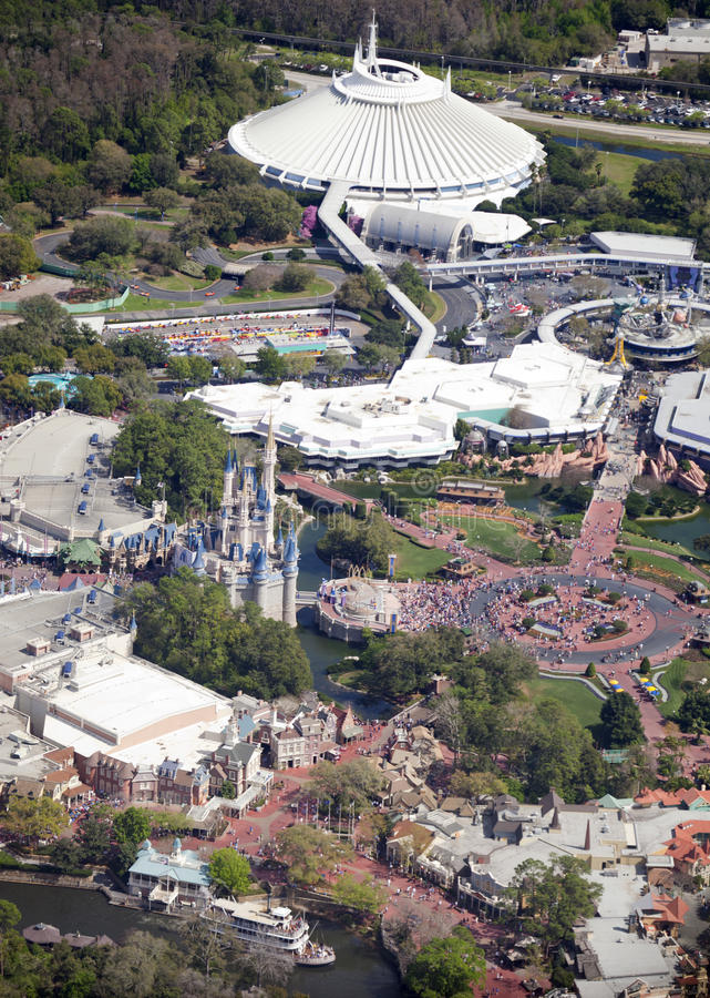 Aerial view of Walt Disney Worlds Magic Kingdom royalty free stock photography