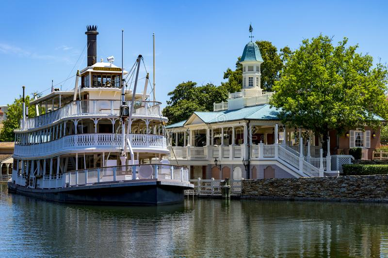 Disney world Mississippi paddle steamer boat orlando Florida. Paddle boat steamer attraction ride at Walt disney world Florida royalty free stock photo