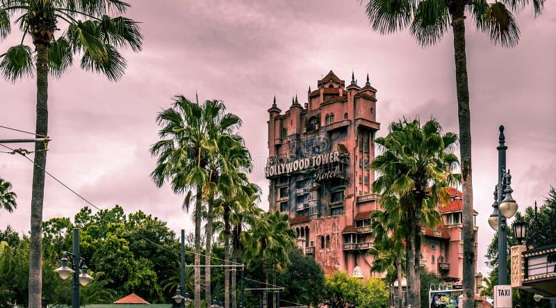 Disney world Orlando Florida Hollywood studios tower of terror. The Hollywood tower of terror Hollywood studios dark skies royalty free stock photos
