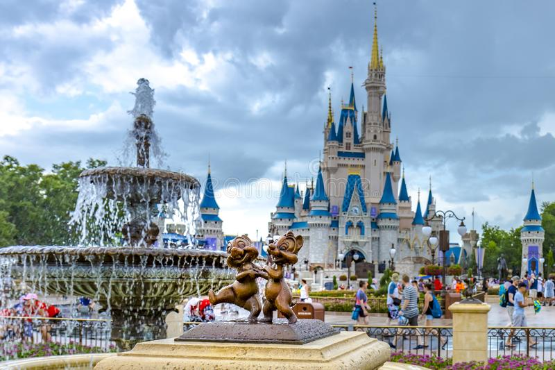 Disney World Orlando Florida Magic Kingdom chip and dale statue royalty free stock photography
