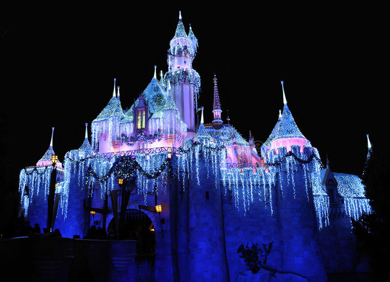 Disneyland. Night image of Disneyland castle at Anaheim California