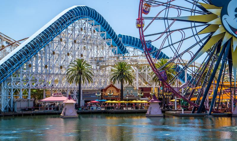 Disneyland, Anaheim, California, USA. Roller Coaster and Ferris Whee royalty free stock photo