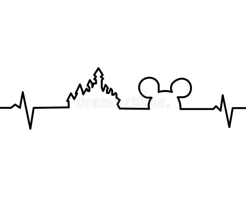 Disneyland jeden linia royalty ilustracja