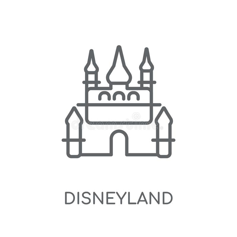 Disneyland lineair pictogram Modern overzichtsdisneyland embleemconcept o stock illustratie
