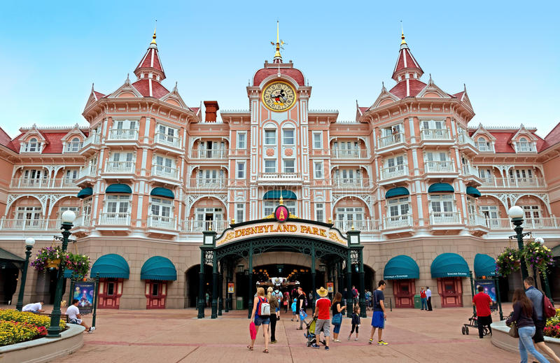 Disneyland - Main entrance to the park stock images
