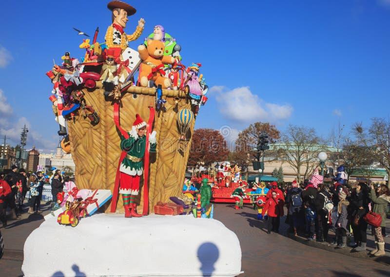 Disneyland - parada w Bożenarodzeniowym czasie obraz royalty free