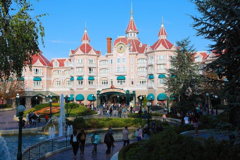 Disneyland Paris-Hotel in Disneyland Paris stock afbeelding