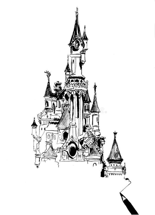 Disneyland Paris - Pociągany ręcznie ilustracja royalty ilustracja