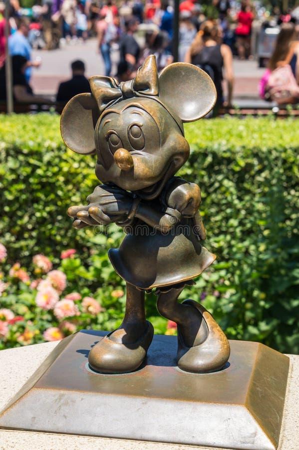 Disneyland Park, Anaheim, California, USA. Bronze sculpture of Minnie Mouse royalty free stock photography