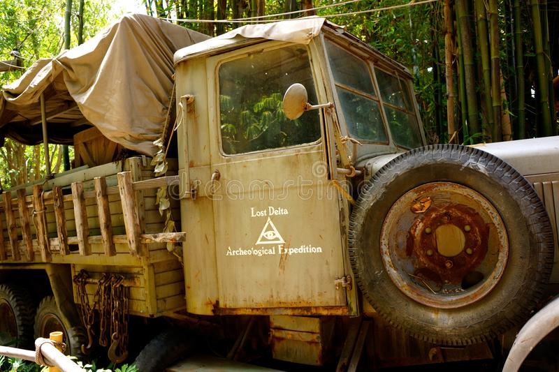 Disneyland Raiders of the Lost Ark Truck. Disneyland Raiders of the Lost Ark ride entrance features trucks and other props for the adventure ride. Harrison Ford stock image
