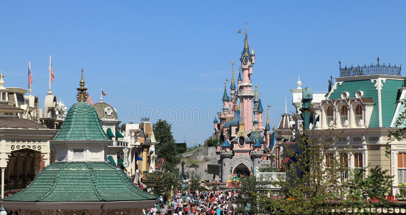 Disneyland skylines. Paris,France,July 11th 2010: Image of few roofs and Princess's Castle in Disneyland Paris